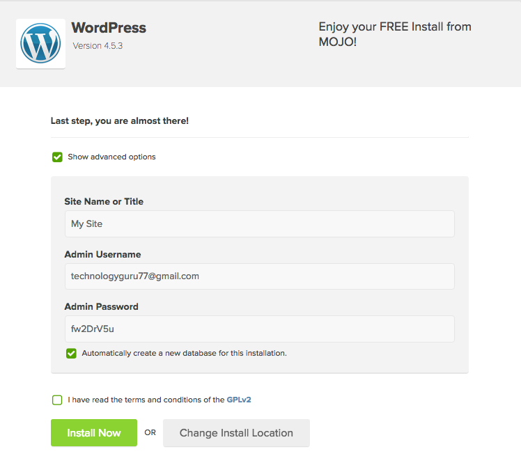 wordpress install on bluehost