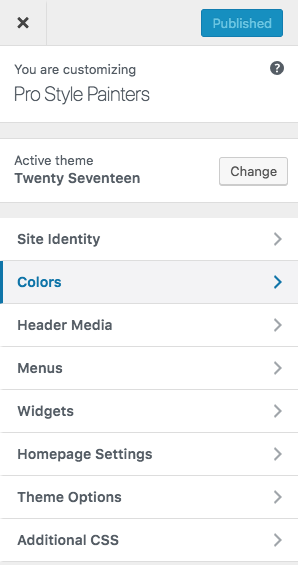 customize options in wordpress